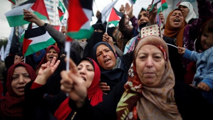 aksi kemarahan di jalur gaza kepada trump