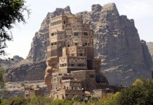 Dar al-hajar, a rock palace built in the 1930s, is seen near Sanaa