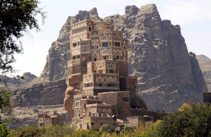 Dar al-hajar, a rock palace built in the 1930s, is seen near Sanaa