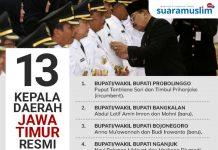 Kepala Daerah Jawa Timur Resmi Dilantik