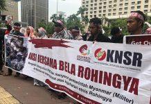 Demo Kedubes Myanmar, KNSR Tuntut Dibukanya Akses Pengiriman Bantuan ke Rohingya