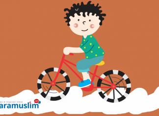 Ilustrasi anak bersepeda. Ilustrator: Ana Fantofani