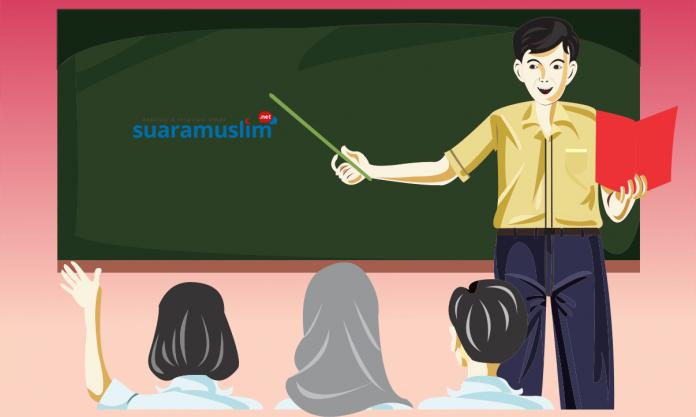 Ilustrasi Guru Mengajar. Ilustrator: Ana Fantofani