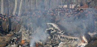 Pesawat tempur India yang ditembak jatuh di wilayah Kashmir.