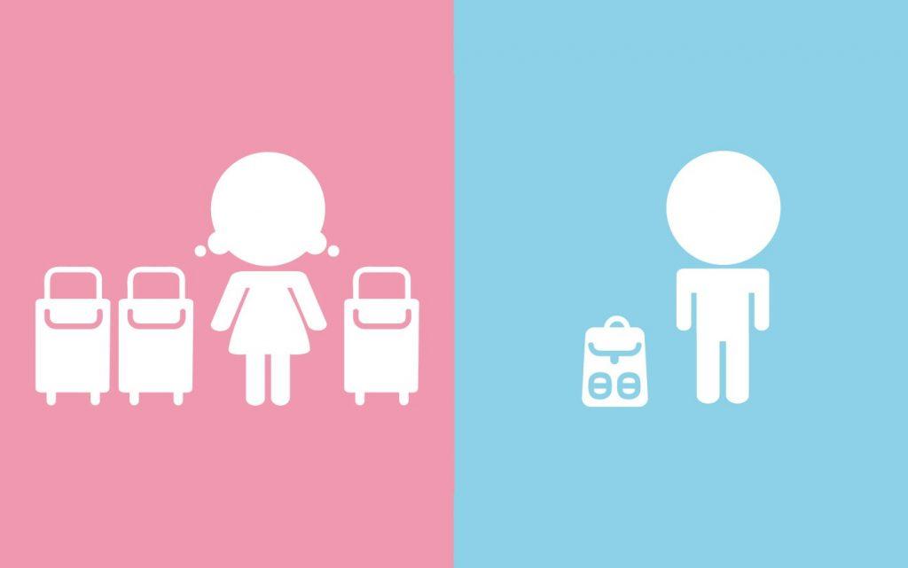 Ilustrasi perbandingan tas wanita dan pria. (Ils: Viviane.co)