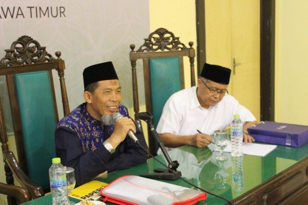 Ketua Dewan Dakwah Islamiyah Indonesia Jatim; KH Sudarno Hadi (kiri) bersama Sekum Dewan Dakwah Islamiyah Indonesia Pusat; H Avid Shalihin (baju putih).