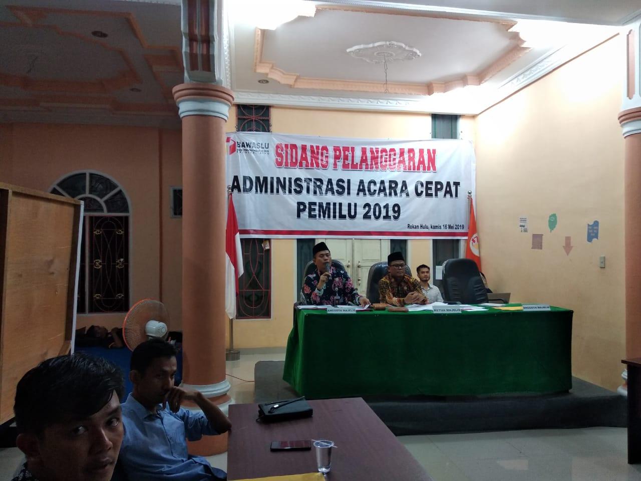 Terima Laporan Kecurangan, Bawaslu Riau Selenggarakan Sidang Administrasi Acara Cepat